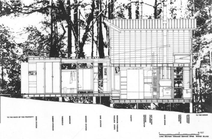 Comparelli Architect - Mudge Island British Columbia - Mudge Long Section